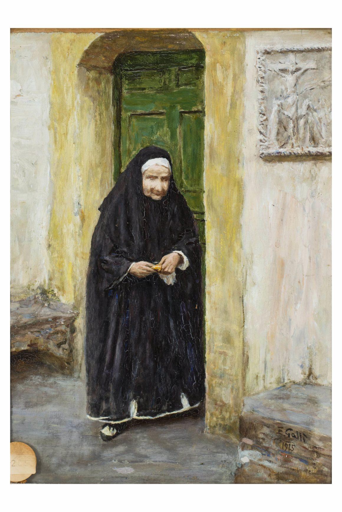 La monaca, Olio su cartoncino riportato su cartone – Edoardo Gallì