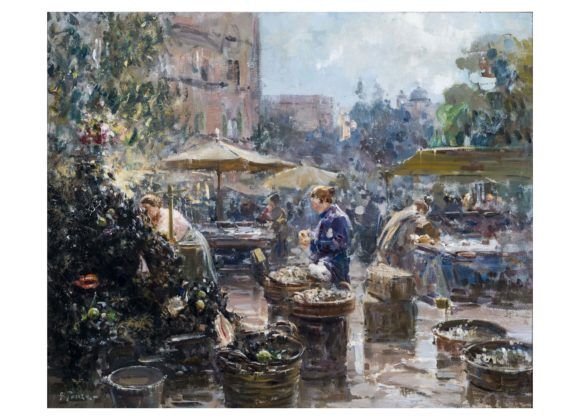 Mercato, olio su tela – Giovanni Panza