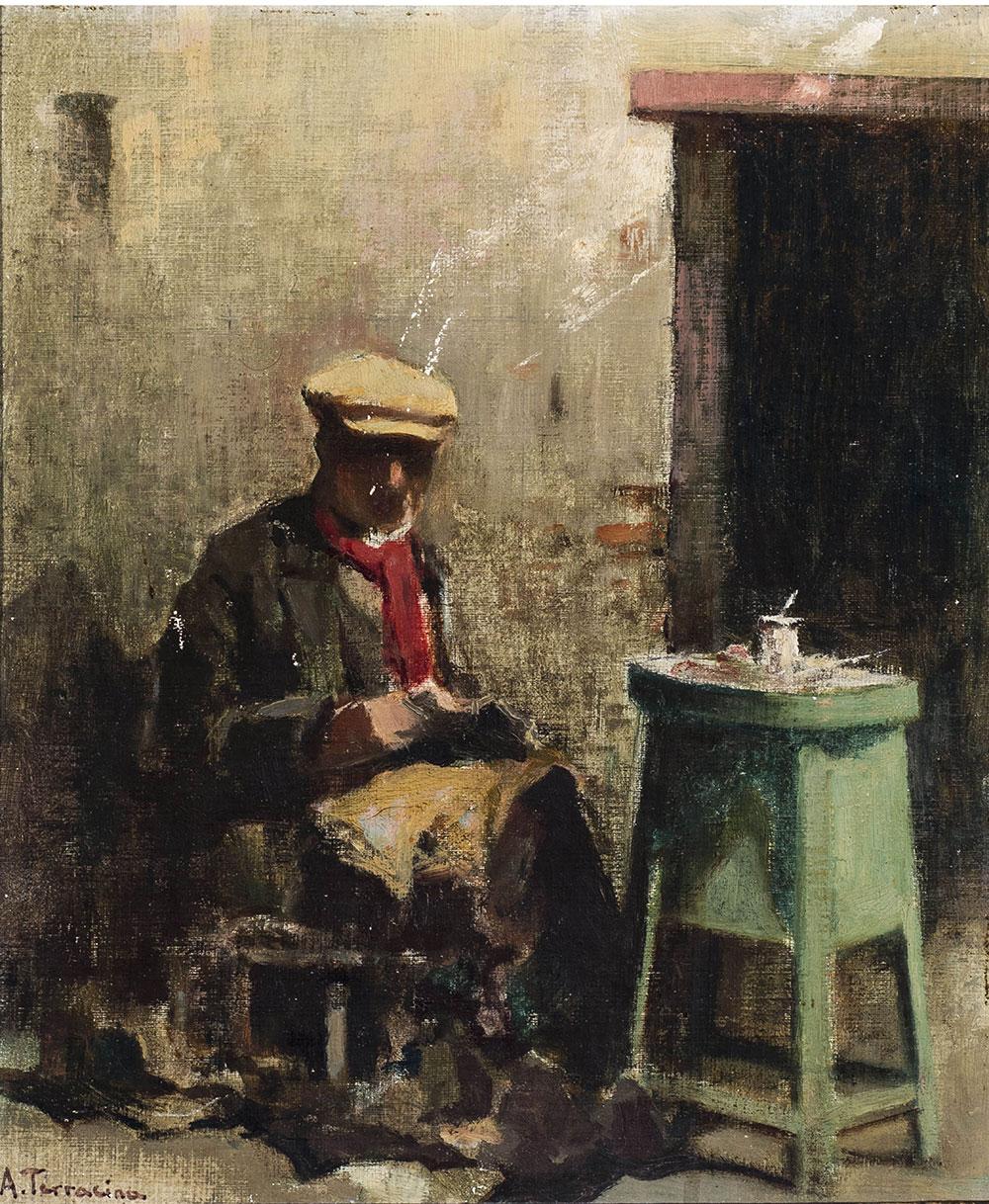 Il calzolaio, olio su cartone telato – Arturo Bacio Terracina