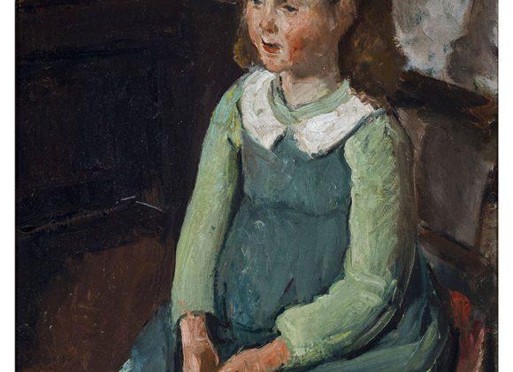 Giovinetta seduta, olio su cartone telato – Carlo Striccoli