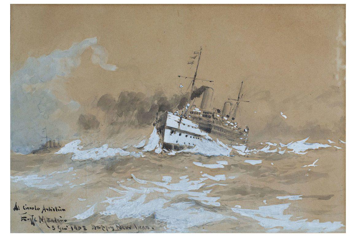 La nave nella tempesta, matita e acquerello su carta – Edoardo De Martino