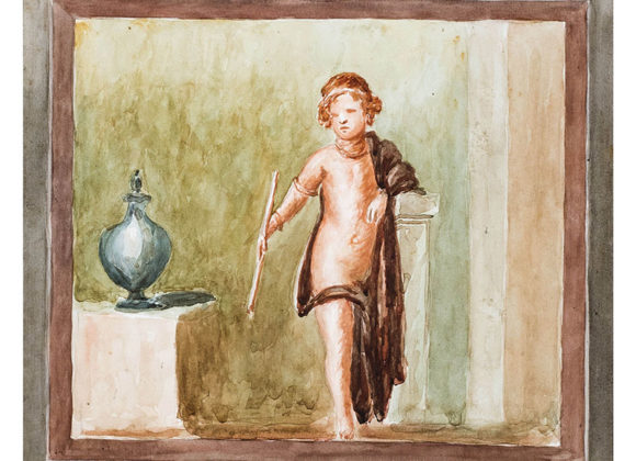Adolescente in riposo, con vaso di bronzo, acquerello su cartoncino – Ferdinando Ferrajoli