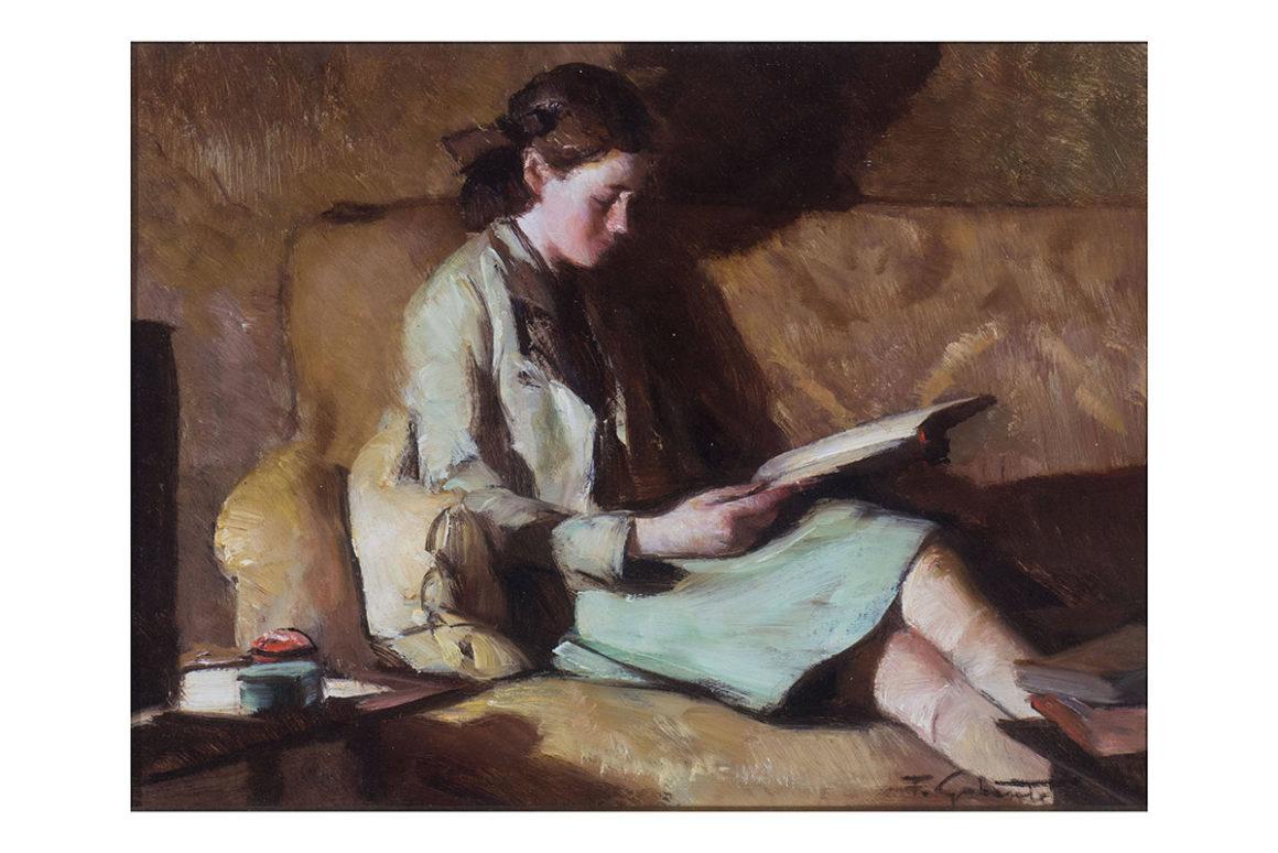 Sul divano, olio su tavola – Francesco Galante
