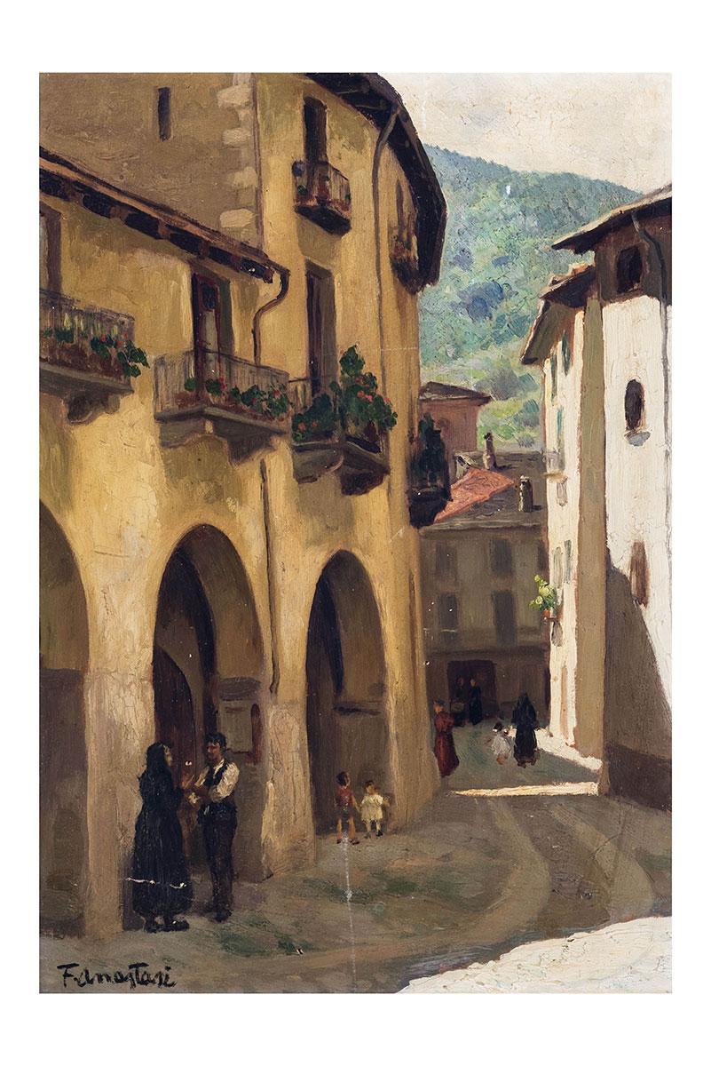 Portici medioevali, olio su tavola – Franco Anastasi