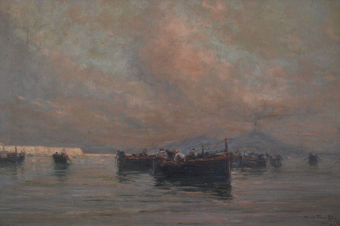 Marina di Napoli, olio su tavola – Fulvio Tessitore