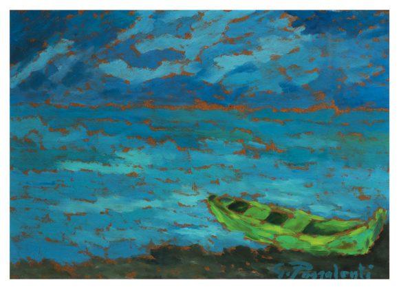 Che cosa vuole quella barca, acrilico su cartone telato – Gianni Passalenti
