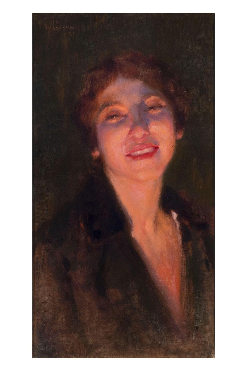 Ritratto di donna, olio su cartone telato – Giuseppe Adrower