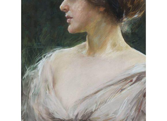 Figura di donna, gesso e pastello su carta riportata su tela – Giuseppe De Sanctis