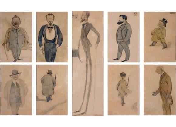 Serie di caricature, acquerello e matita su cartoncino – Giuseppe De Sanctis