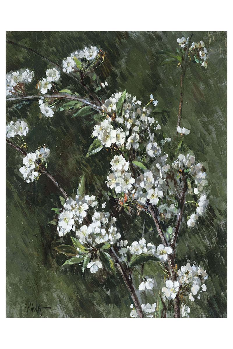 Ciliegio in fiore, olio su tavola – Giuseppe Uva