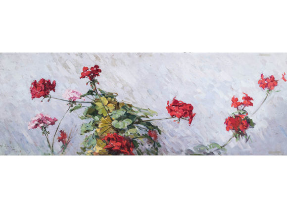 Gerani, olio su tavola – Gustavo Pisani