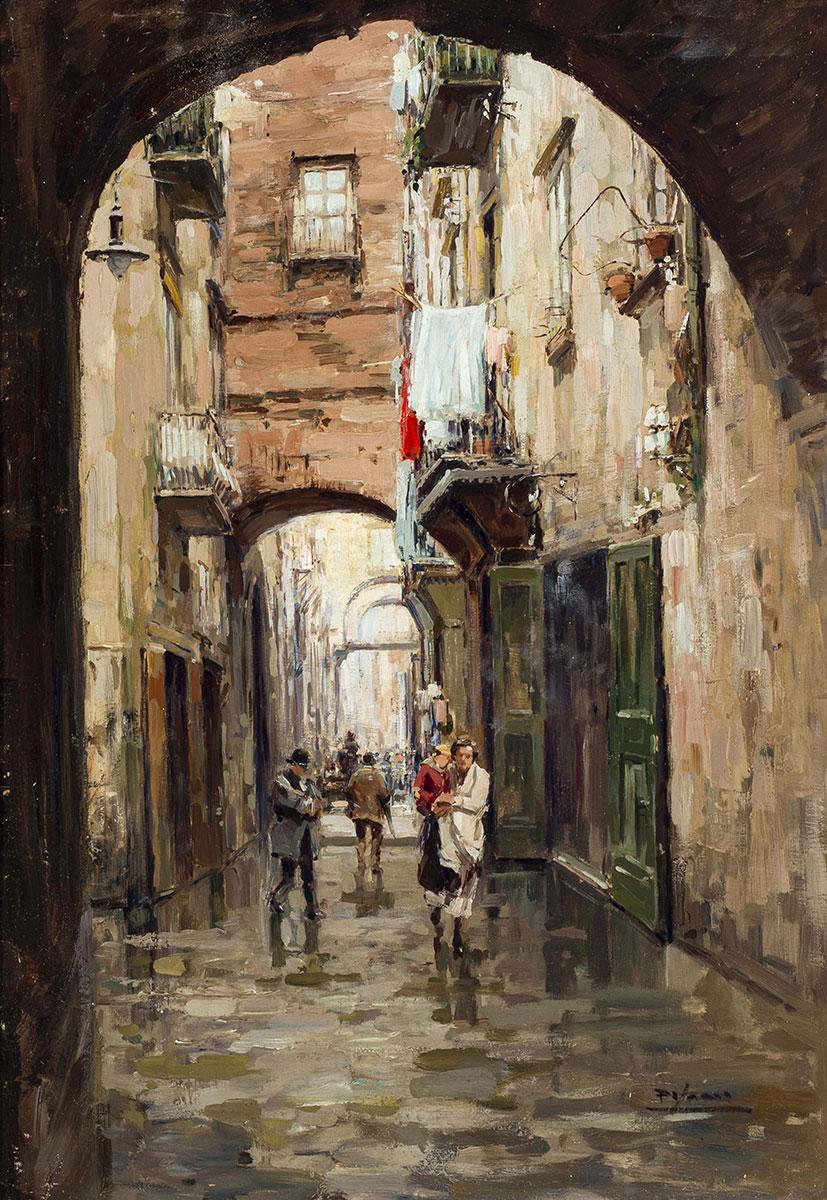 Via Anticaglia, olio su tavola – Gustavo Pisani
