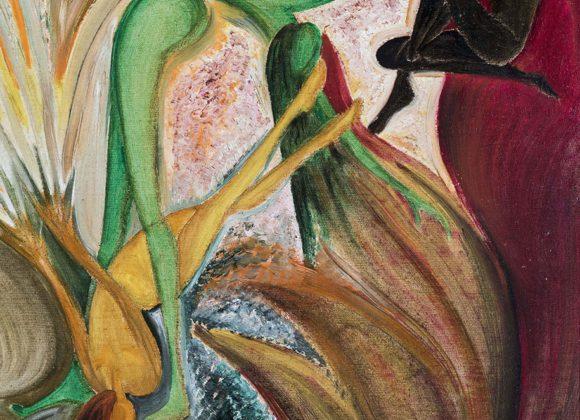 Fiori con figure, olio su cartone telato – Mara Irati Margenstern