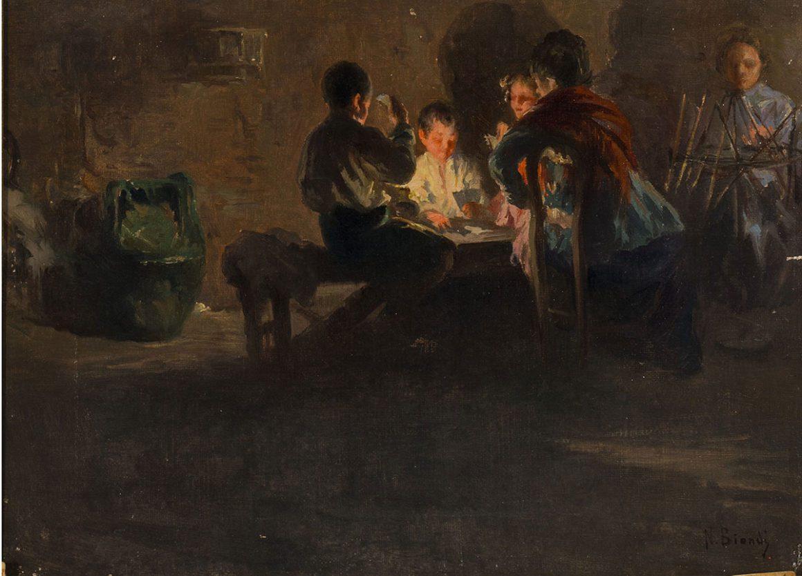 Il gioco a carte, olio su tela – Nicola Biondi