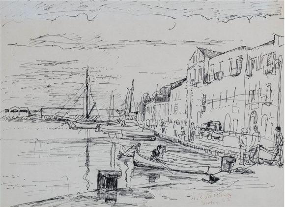 Porto d'Ischia, penna su carta – Ugo de Palma