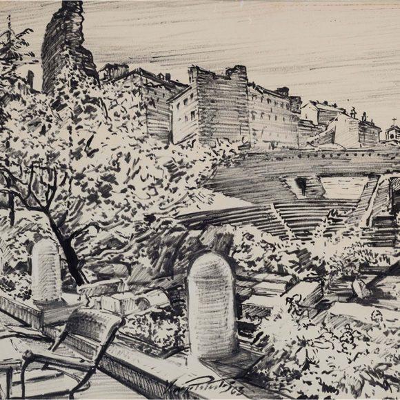 Anfiteatro di Trieste, pennarello su carta – Vincenzo Potestà