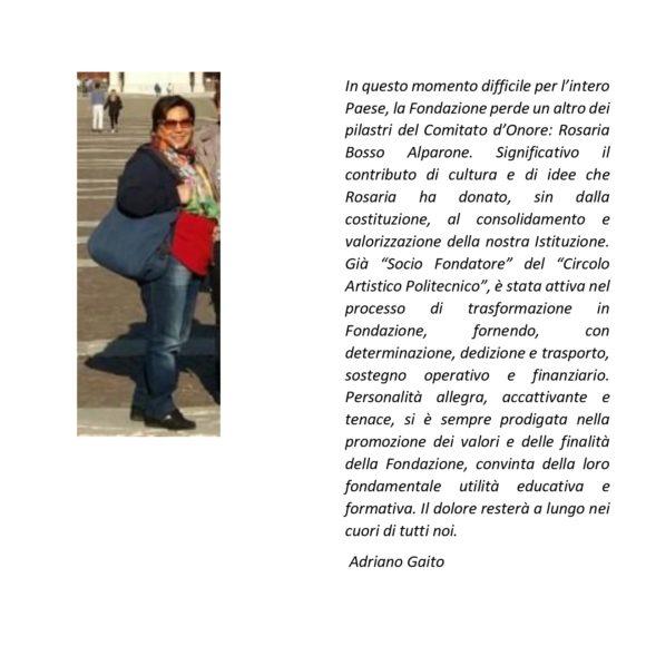 Salutiamo Rosaria Bosso Alparone